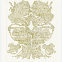 John Zinsser, Drawing Warhol: Rorschach Painting (Gold Variation), 2015