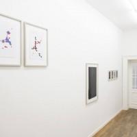 """Ausstellungsansicht """"Papier/Paper IV – COLLAGEN"""", Karim Noureldin (l.), Erwin Bechtold (M.), Günter Tuzina (r.)"""