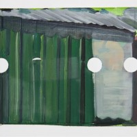 Tim Trantenroth, Shacks green, 2011, Öl auf Karton, 19 x 39 cm
