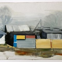Tim Trantenroth, Shacks grey sky, 2011, Öl auf Karton, 26 x 36 cm
