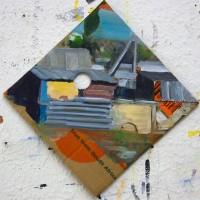 Tim Trantenroth, Shacks diagonal 2, 2012, Öl auf Karton, 25,5 cm x 25 cm